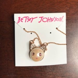 Betsey Johnson Pearl Cat pendent Necklace